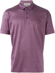 Canali Patterned Polo Shirt Pink And Purple