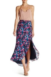 Haute Hippie Silk Side Slit Hi Lo Skirt Multi