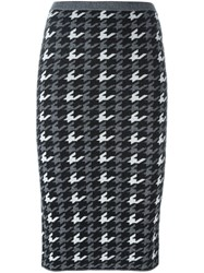 Alice Olivia Houndstooth Pattern Knit Skirt Black