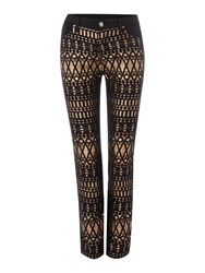 Biba Jacquard Front Stretch Back Jeans Multi Coloured
