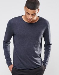 Selected Homme Silk Mix Knitted Jumper With Raw Edge Navy