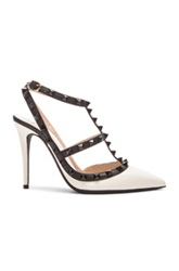 Valentino Color Block Rockstud Leather Slingbacks T.100 In Black White