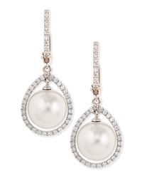 18K White South Sea Pearl And Diamond Halo Earrings Eli Jewels Blue