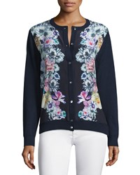 Neiman Marcus Cashmere Collection Silk Front Floral Cardigan Navy