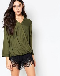 Madam Rage Blouse With Wrap Front Olive Green