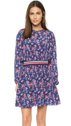 Tanya Taylor Anna Embroidered Dress Navy Multi