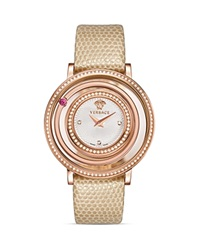 Versace Venus Diamond Rose Gold Pvd Watch With Lizard Strap 39Mm Ivory