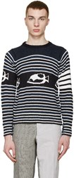 Thom Browne Navy And White Striped Fish Sweater