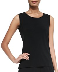 Caroline Rose Stretch Knit Long Tank Black Petite Women's