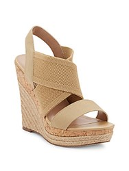 Charles By Charles David Allison Leather And Cork Espadrille Platform Wedges Sand