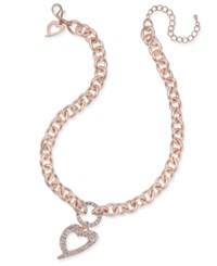 Thalia Sodi Signature Cutout Heart Pave Pendant Necklace Rose Gold