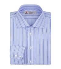 Turnbull And Asser Stripe And Houndstooth Slim Shirt Male Blue