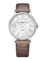 Baume And Mercier Classima Diamond Mother Of Pearl Stainless Steel And Alligator Automatic Strap Watch Silver Brown