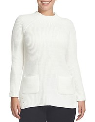 Chaus Ribbed Mockneck Sweater Winter White