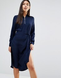 Ax Paris Long Sleeve Midi Shirt Dress Navy