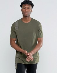 Asos Longline T Shirt With Threaded Taping And D Ring With Curved Back Hem Rifle Green