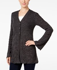 Styleandco. Style Co. Petite Three Button Marled Cardigan Only At Macy's Deep Black