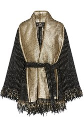Etro Fringed Wool Blend Boucle Wrap Black