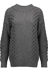 Belstaff Milton Cable Knit Cashmere Sweater Anthracite