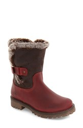 Bos. And Co. Women's Bos Candy Waterproof Boot With Faux Fur Trim Red Dark Brown Leather