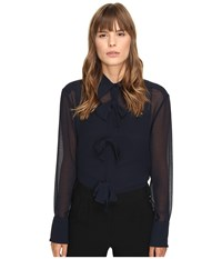 See By Chloe Georgette Blouse With Bow Detailing Navy Women's Blouse