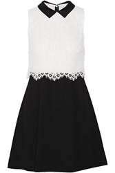 Alice Olivia Desra Corded Lace And Crepe Mini Dress Black