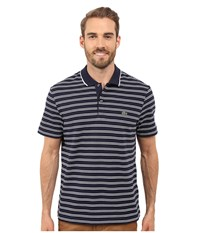 Lacoste Short Sleeve Pique Jersey Stripe Polo Navy Blue White Men's Clothing