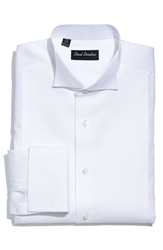 David Donahue Pique Bib Front Regular Fit Tuxedo Shirt Online Only White