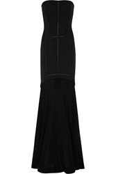 Amanda Wakeley Embroidered Faille And Open Knit Gown Black