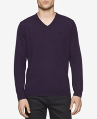 Calvin Klein Men's Merino V Neck Sweater Purple Shade