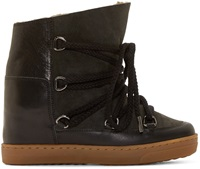 Isabel Marant Black And Olive Nowles Shearling Ankle Boot