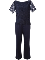 Tory Burch Embroidered Lace Leaves Jumpsuit Blue
