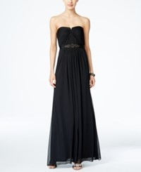 Adrianna Papell Strapless Ruched Gown Black
