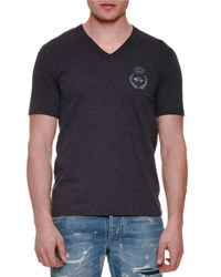 Dolce And Gabbana Crown And Bee Embroidered Short Sleeve Tee Gray