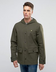 Lyle And Scott Showerproof Raincoat 2 Pocket In Green Dark Sage