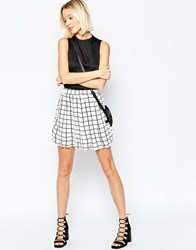 Daisy Street Skirt In Grid Print White