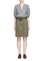 3.1 Phillip Lim French Terry Twill Combo Belted Utility Dress Multi Colour