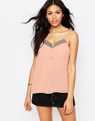 Daisy Street Cami Top With Botton Front And Metallic Trim Pink