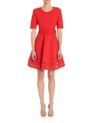 Teri Jon By Rickie Freeman Cutout Hem Belted Dress Red