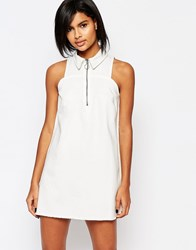 Vero Moda Denim Zip Up Dress White
