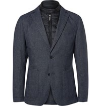 Hugo Boss Blue Slim Fit Nalmar Layered Quilted Shell And Cotton Blazer Navy