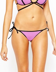 Asos Mix And Match Contrast Tie Side Thong Contrast Bikini Pant Rododendropurple