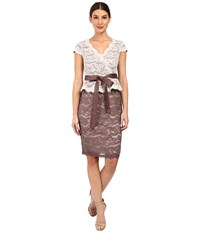 Adrianna Papell Two Tone Nouveau Scroll Lace Short Cocktail Eggshell Sable Women's Dress Brown