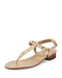 Neiman Marcus Breana Studded Leather T Strap Sandal Ecru