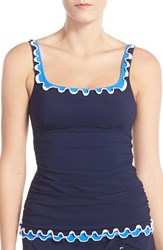 Women's Profile By Gottex Ruffle Underwire Tankini Top Navy