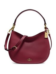 Coach Nomad Leather Hobo Bag Burgundy Black