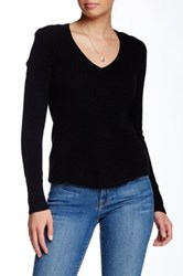 White Warren Slim Chevron Cashmere V Neck Sweater Black