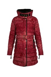 Desigual Alethea Padded Overcoat Red