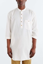 Koto Half Sleeve Long Split Hem Popover Shirt White
