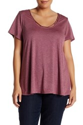 Hip Cutout Short Sleeve A Line Tee Plus Size Purple